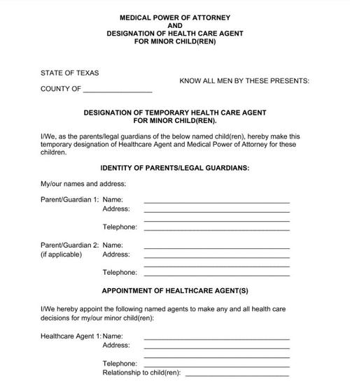 Healthcare Power of Attorney Form for Minors